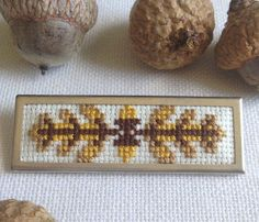 KBB Crafts & Stitches: Oak Branch Cross-Stitch Pin