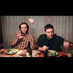 """Haha! Awesome!!  Jared on Twitter: """"This is what Thanksgiving is like with @JensenAckles & me. Thanks Kathryn Newton for the gif :)"""