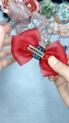 Diy Lace Ribbon Flowers, Diy Ribbon, Ribbon Crafts, Ribbon Bows, Fabric Flowers, Making Hair Bows, Diy Hair Bows, Diy Bow, Diy Headband
