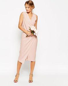 ASOS | ASOS WEDDING Wrap Drape Midi Dress at ASOS