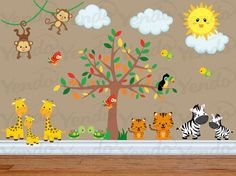 Wall Decals for Kids Bedroom - Jungle Animal Wall Decal - Safari Nursery Decals - Tree Decal