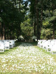 White rose petals carpet this white elegant southern wedding