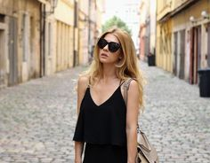Wearing black maxi dress and Celine trapeze bag. Chanel espadrilles. Outfit of the day. Inspiration. Fashion. Street style.