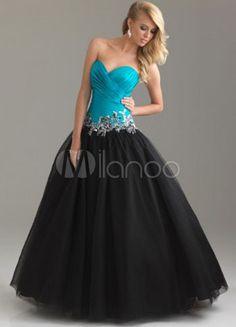 Navy Blue Satin Strapless Sweetheart Beading Black Tulle Ball Gown - Milanoo.com