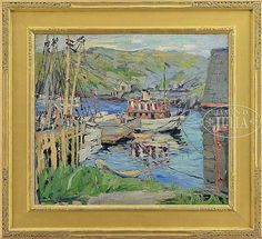 """""""Monhegan Island Dock,"""" Hayley Lever, oil on canvas, 24"""" x 26"""", private collection."""