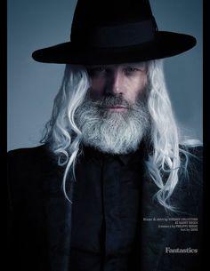 Hair Ball of the Day: Model Paul Mason for Fantastics Mag Grey Hair Men, Long Gray Hair, Moustaches, Hair And Beard Styles, Long Hair Styles, Older Mens Hairstyles, Weave Hairstyles, Arte Fashion, Beard Model