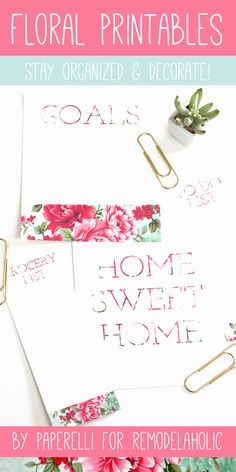 Free Floral Printables for @Remodelaholic by Paperelli #todo #grocerylist #goals