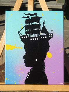 Pirate Ship Hat Silhouette Painting 8x10 Acrylic by HeavensToBetzy - Clever and a conversation starter. #HeavensToBetzy #SFEtsy