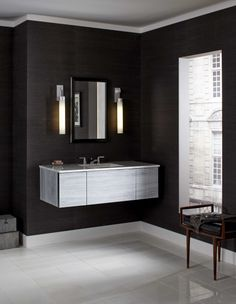 "Robern Bathroom Sconces robern v14 24"" and 36"" wall-mount vanities in smooth-leaved elm"