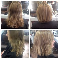 Below shoulder hair restyled into a shoulder length bob with choppy layers and small side fringe! 13/04/15