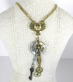 Steampunk Jewelry Necklace Pocket Watch Case Lens GARGOYLE Gear Black Key Men's Womens Statement AWESOME - Steampunk Jewelry by edmdesigns