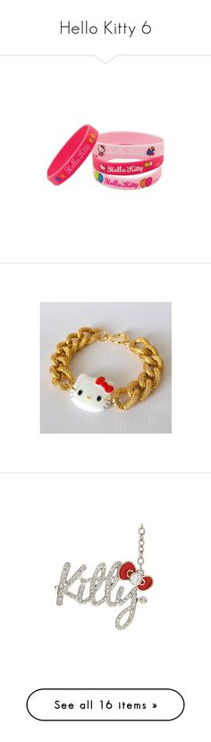 """Hello Kitty 6"" by denise-drinhouser ❤ liked on Polyvore featuring accessories, hello kitty, jewelry, bracelets, hello kitty jewelry, charm jewelry, charm bangles, chain charms, hello kitty bangle and bags"