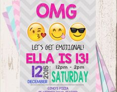 Reserved Listing EMOJI BIRTHDAY INVITATION Emojis by Asapinvites