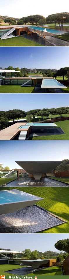 The wild cantilvered pool reflecting pool and spa at Casa Vale do Lobo. 50 images of the villa at http://www.ifitshipitshere.com/portugal-villa-one-wildest-pools-youll-ever-see/