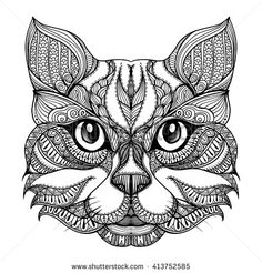 Vector Hand Drawn Cat Face With Ethnic Doodle Pattern. Black And White  Zentangle Art. Ethnic Patterned Illustration For Antistress Coloring Book,  Tattoo, ...