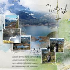 Mesachie Lake Hike page one - Oscraps Gallery Scrapbook Designs, Scrapbook Page Layouts, Project Life Planner, Photoshop, Lightroom, Travel Book Layout, Artsy Background, Travel Sketchbook, Album Design
