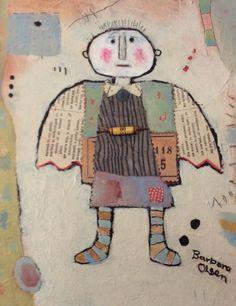 """Barbara Olsen, """"Winston"""", Mixed Media on Canvas, 10x8 - Anne Irwin Fine Art"""