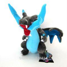 "... 10 "" Pokemon Plush X Y Mega Charizard Plush Toys Dolls Blue Dragon Soft Stuffed Animal ..."