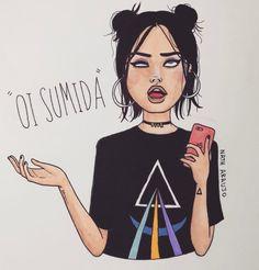 Frases/ desenho/ ilustração/menina/ oi sumida