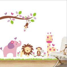 1 set popolare da parete fumetto animale pvc diy specchio adesivi murali camera dei bambini carta da parati