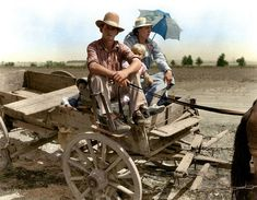 """Drought-stricken farmer and family near Muskogee, Oklahoma."" August 1939 by Dorothea Lange Colorized Historical Photos, Colorized History, Historical Pictures, Louis Armstrong, 6 Photos, Old Pictures, Sophia Loren, Pablo Picasso, Claude Monet"