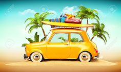 Picture of Funny retro car with surfboard and suitcases on a beach with palms behind. Unusual summer travel illustration stock photo, images and stock photography. Iphone 5 Wallpaper, Wallpaper Backgrounds, Phone Wallpapers, Nature Images, Nature Pictures, Beach Trip, Vacation Trips, Carros Retro, Multi Photo