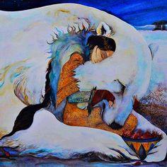 Snow bear - illustration by Jackie Morris Potnia Theron, Art D'ours, Image Halloween, Ouvrages D'art, Photo D Art, Bear Art, Children's Book Illustration, Native American Art, Spirit Animal