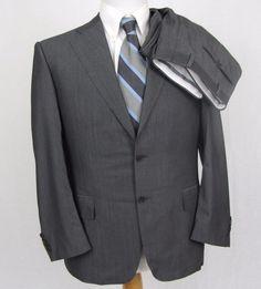 Canali 1934 Suit 40S Current Model $2095 Striped Double Vent 32 x 28 Pleat Pants #Canali #TwoButton