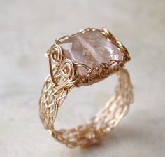 Pink Rose Quartz Ring, Wire Crochet Ring, 14K Gold Filled, Any Size Made to Order via Etsy