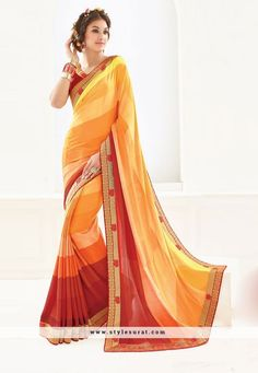4e728509db2 Look elegant and pretty by adorning this daily wear casual printed orange  color saree. This printed saree is made from crepe fabric which is further  ...