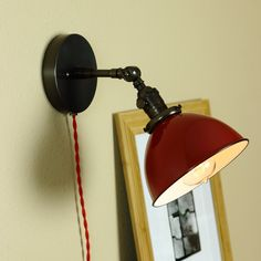 Industrial Wall Lamp - Articulating Wall Sconce Lighting - Steampunk Light - RED Porcelain Enamel Shade - Hand Finished in Oil Rubbed Bronze