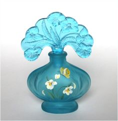 Fenton Art Glass Blue Lagoon Perfume Bottle Painted Butterfly Flowers Signed