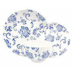 Melange Porcelain 16-Piece Dinnerware Set (Indigo Royale) | Service for 4| Microwave, Dishwasher & Oven Safe | Dinner Plate, Salad Plate, Soup Bowl & Mug (4 Each) | Wayfair Melamine Dinnerware Sets, Bone China Dinnerware, Square Dinnerware Set, Porcelain Dinnerware, Blue And White Dinnerware, Soup Plating, Blue And White China, Fun Cup, Dinner Sets