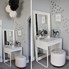 A dressing table, chair, and lights are all you need to create a comfortable makeup area in your home