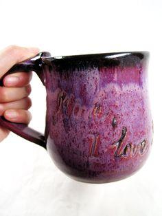"Big & Purple!! ""Personalized mug pottery coffee mug by Ningswonderworld, $25.00"""