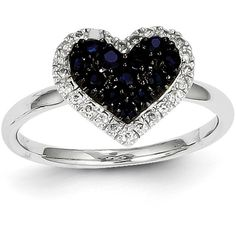 14K White Gold Diamond & Round Sapphire Heart Gemstone Ring ($279) ❤ liked on Polyvore featuring jewelry, rings, white gold, heart ring, sapphire ring, 14 karat white gold ring, diamond jewelry and gemstone rings