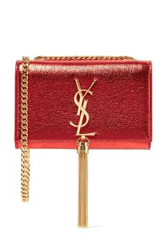 Saint Laurent Monogramme Kate Small Metallic Textured-leather Shoulder Bag - one size - ShopStyle Saint Laurent Stiefel, Saint Laurent Boots, Saint Laurent Handbags, Red Shoulder Bags, Shoulder Handbags, Leather Shoulder Bag, Red Purses, Purses And Handbags, Ysl