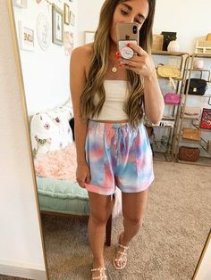 $20 Amazon tie dye shorts! They are so comfy and cute:) #amazonfinds #affordablefashion #petitefashion #amazonforsummer #summeramazonfinds #affiliatelink