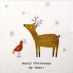 4 Single  Party Paper Napkins for Decoupage Decopatch Craft Merry Christmas Deer