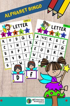 This fairy alphabet bingo activity will make teaching letter recognition so fun and simple. Fun Alphabet Printables for Preschool and Kindergarten | Fairy Themed Letter Games | Hands On Literacy Homeschool Activities | Kids Classroom Center Ideas and Worksheets #FreePrintableWorksheetsForKids #Fairy #Alphabet #Bingo Alphabet Bingo, Alphabet Cards, Free Printable Worksheets, Worksheets For Kids, Printables, Teaching Letter Recognition, Letter Games, Free Games For Kids, Upper And Lowercase Letters