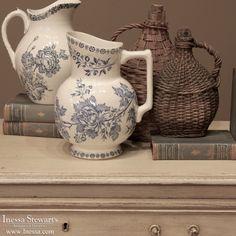 Antique China and Ceramics   Antique Blue Transferware Pitcher   www.inessa.com