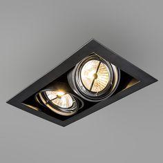 Rectangular built-in spot black - Oneon Recessed Spotlights, Recessed Ceiling Lights, Ceiling Beams, Corridor Lighting, Industrial Home Design, Luz Led, Ceiling Design, Downlights, Kitchen Lighting