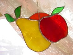 Vintage Stained Glass Fruit Suncatcher for Window 4 3/4 Inches Pear Apple Orange ~ seller; florasgarden on ebay