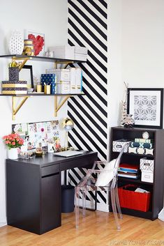 Bold Accents - love the shelf brackets