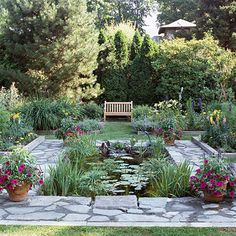 Wildlife water garden.  Nice formal pond with enough plantings to give it good interest.