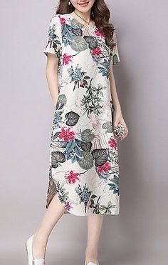 Women loose fit oversize plus size flax linen flower beach pocket maxi dress | Roupas, calçados e acessórios, Roupas femininas, Vestidos | eBay!