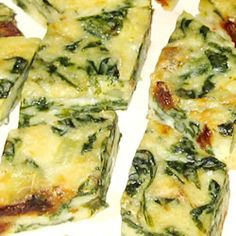 "Spinach ""brownies""...more like quiche squares"