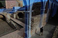 """Un moment de la sèrie documental """"Ingeniería romana"""", de La 2 de TVE, reconstrucció virtual de la capçalera del circ romà. Fotograma: ©Pere Toda-Vilaniu Comunicació"""