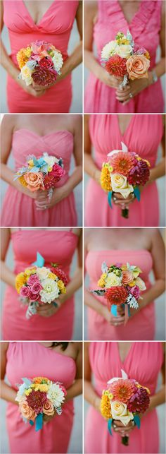Bridesmaids. i love the bouquets and the different style dresses!