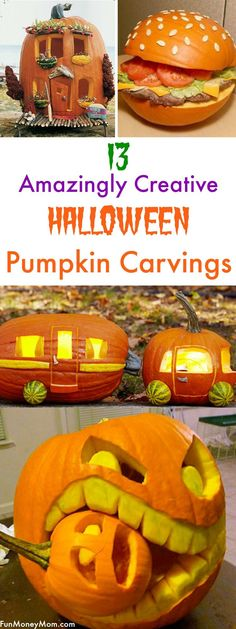 Do you love carving pumpkins with your family for Halloween? These amazingly cre… Do you love carving pumpkins with your family for Halloween? These amazingly creative pumpkin carvings will inspire you to make an incredible Halloween pumpkin of your own! Deco Haloween, Soirée Halloween, Adornos Halloween, Hallowen Costume, Fairy Halloween Costumes, Holidays Halloween, Halloween Treats, Halloween Pumpkins, Family Halloween